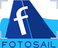 The new fotosail logo - a tilted sail seen through a camera viewfinder